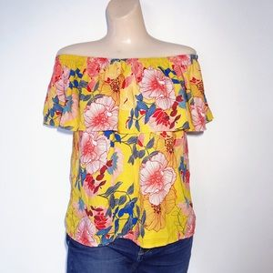 LILY WHITE YELLOW FLORAL OFF THE SHOULDER TOP